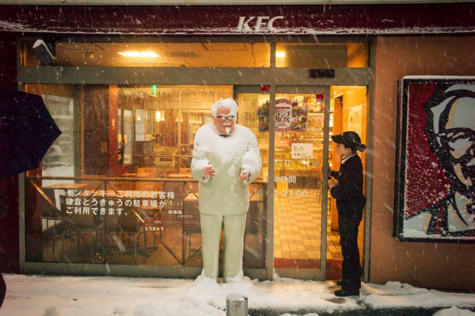 Heavy Snow Day, KFC, Komachi, Kamakura, Feb 2014 ©️ Shin Noguchi